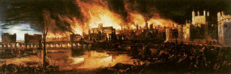 Mounted print of The Great Fire of London, 1666
